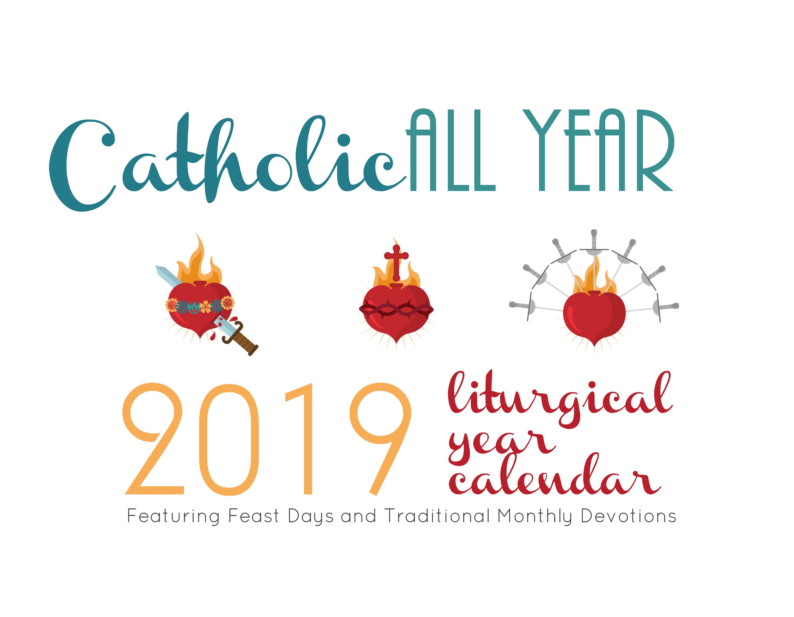 Catholic All Year 2019 Liturgical Year Calendar digital download 3000x2333