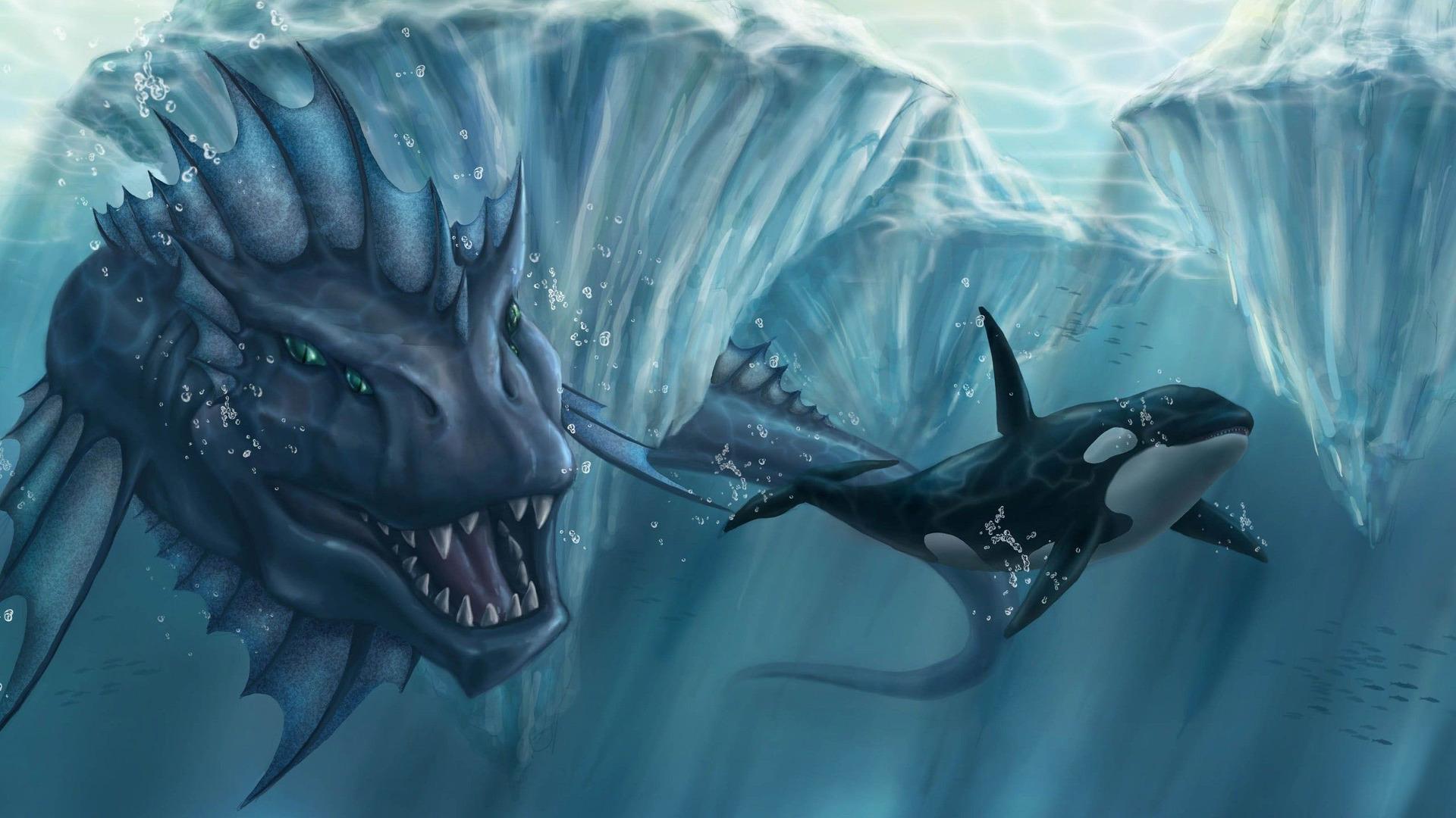 Sea monster chasing the killer whale Wallpaper 7526 1920x1080