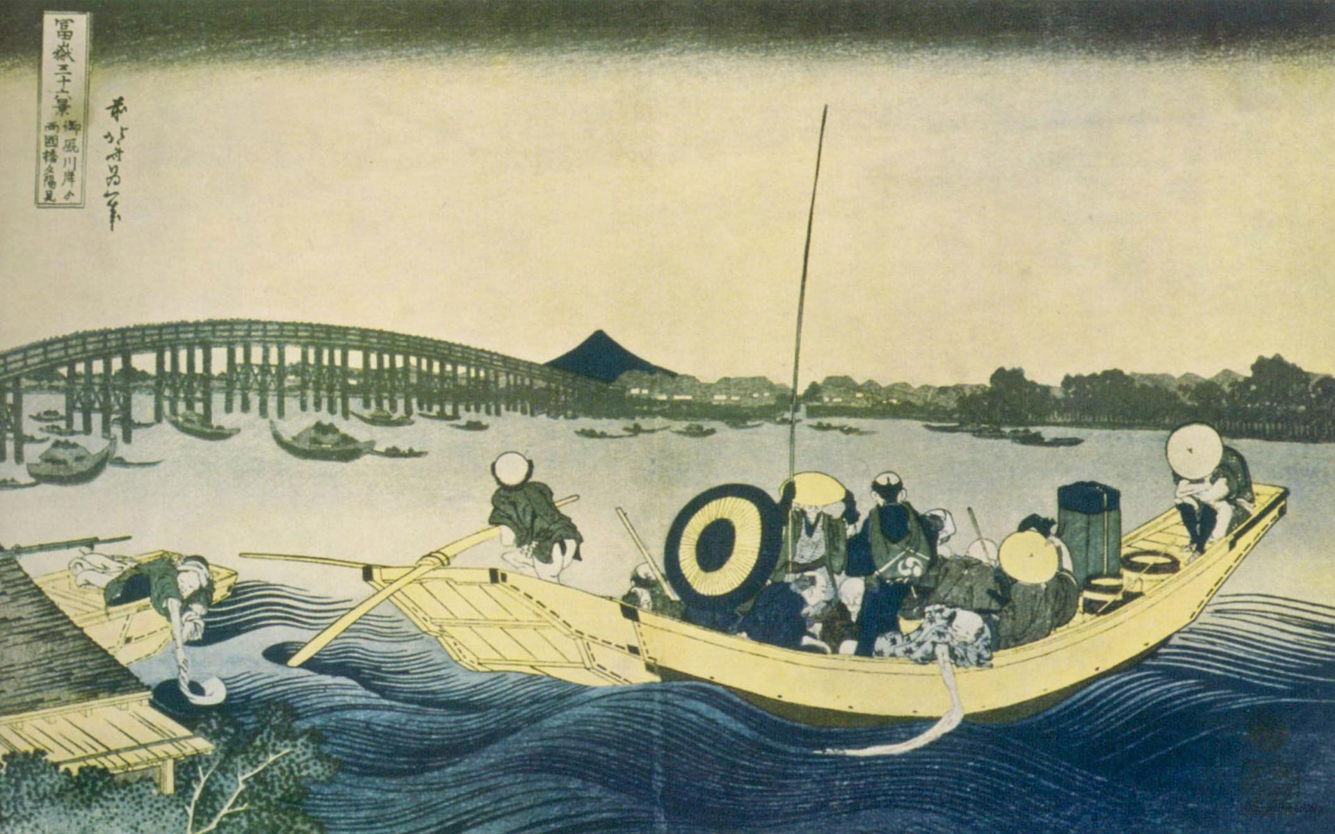 Katsushika Hokusai Sunset across the Ryogoku bridge Wallpaper 1920x1200