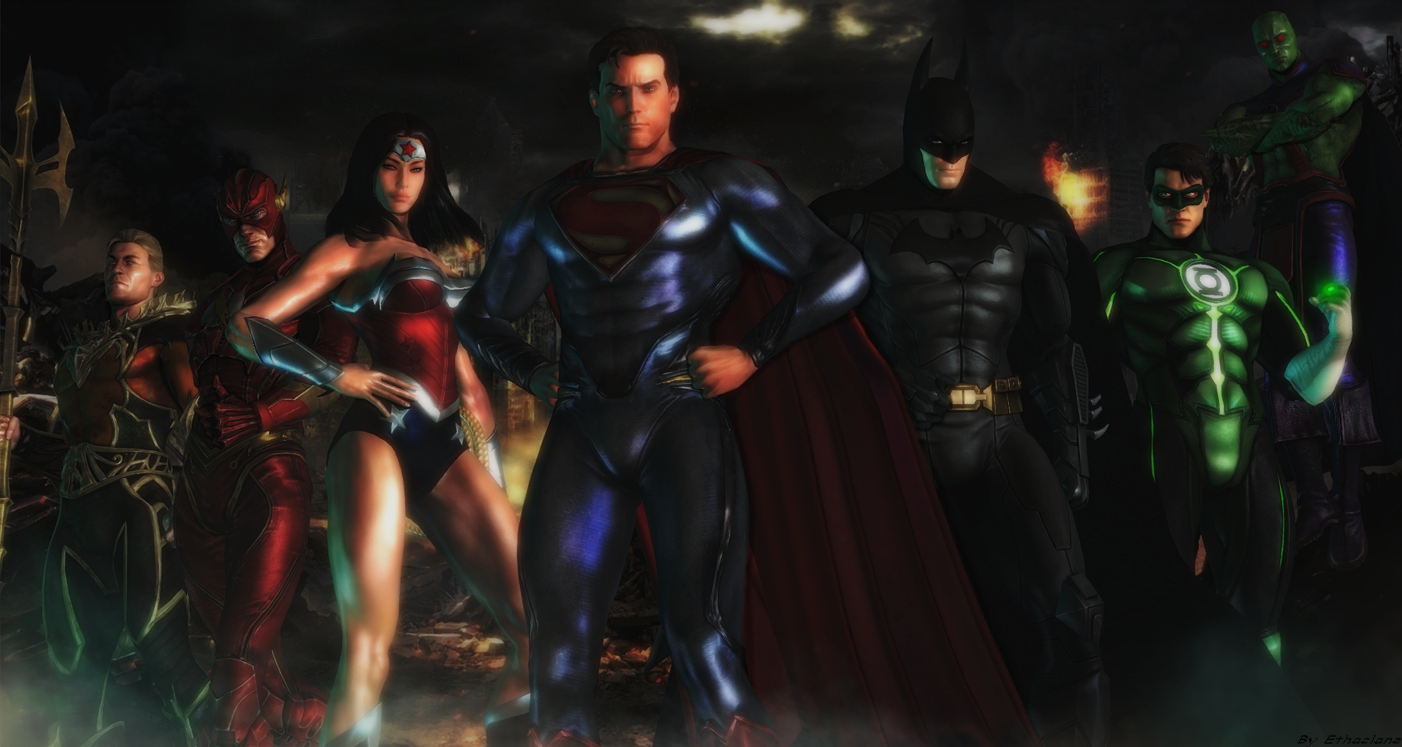justice league wallpaper by ethaclane fan art wallpaper games 2013 2731x1456