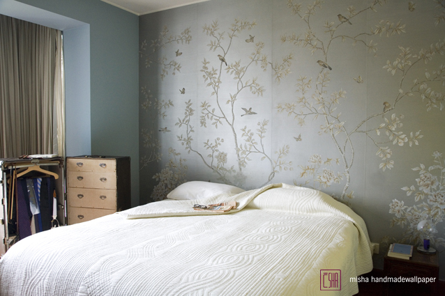 Gracious and Excellent Hand Painted Flower Silk Wallpaper for 638x425