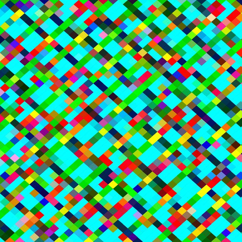 geometric pixel square pattern abstract background in green yellow 770x770