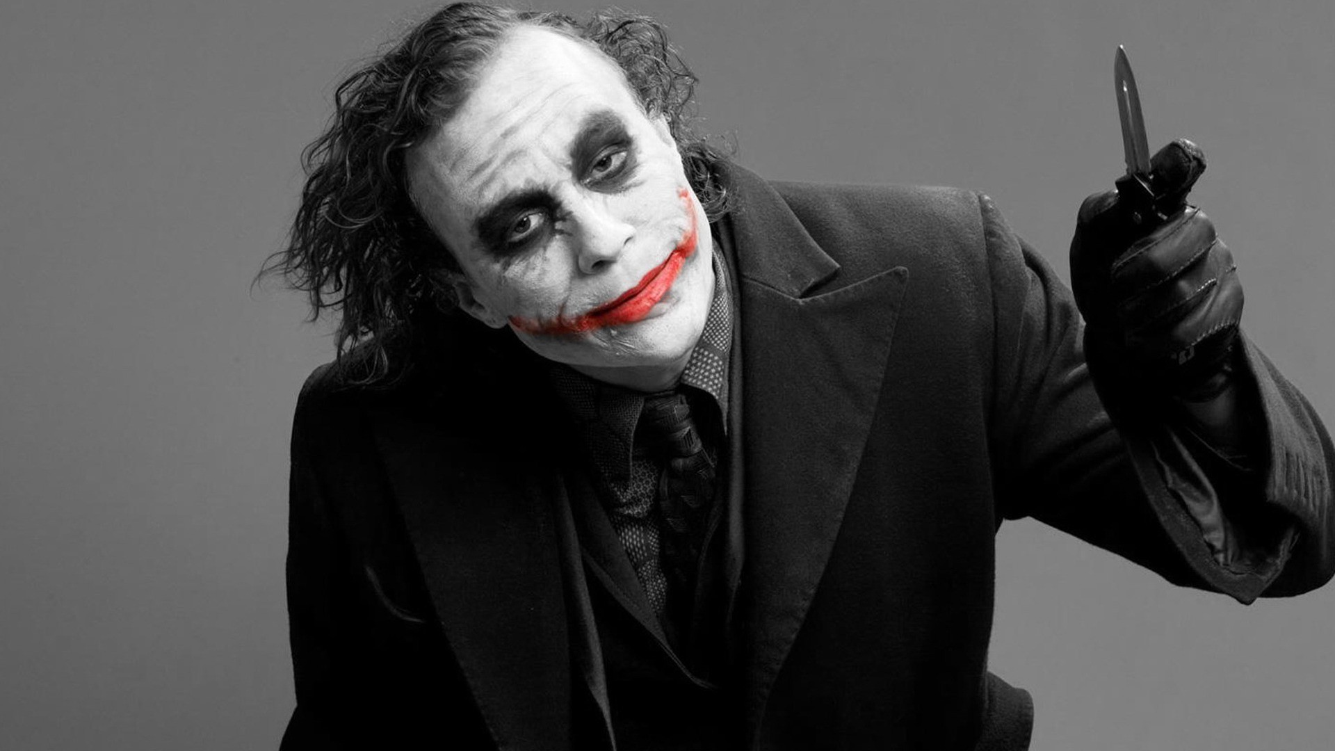 Joker Heath Ledger DC Comics Black And Red Batman 1920x1080