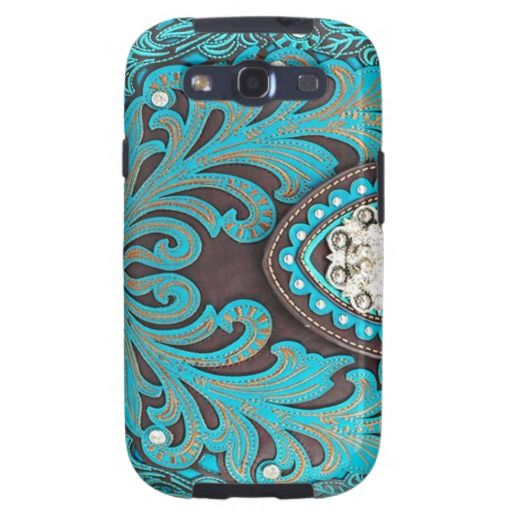 Turquoise Tooled Floral Leather Bling Diamond Prin 512x512