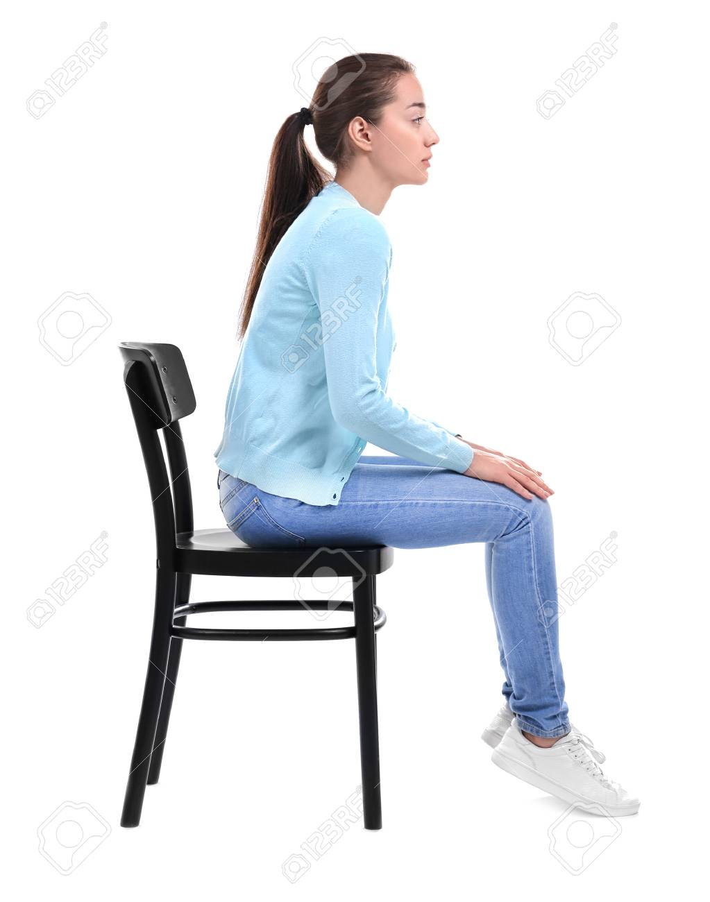 Posture Concept Young Woman Sitting On Chair Against White 1023x1300
