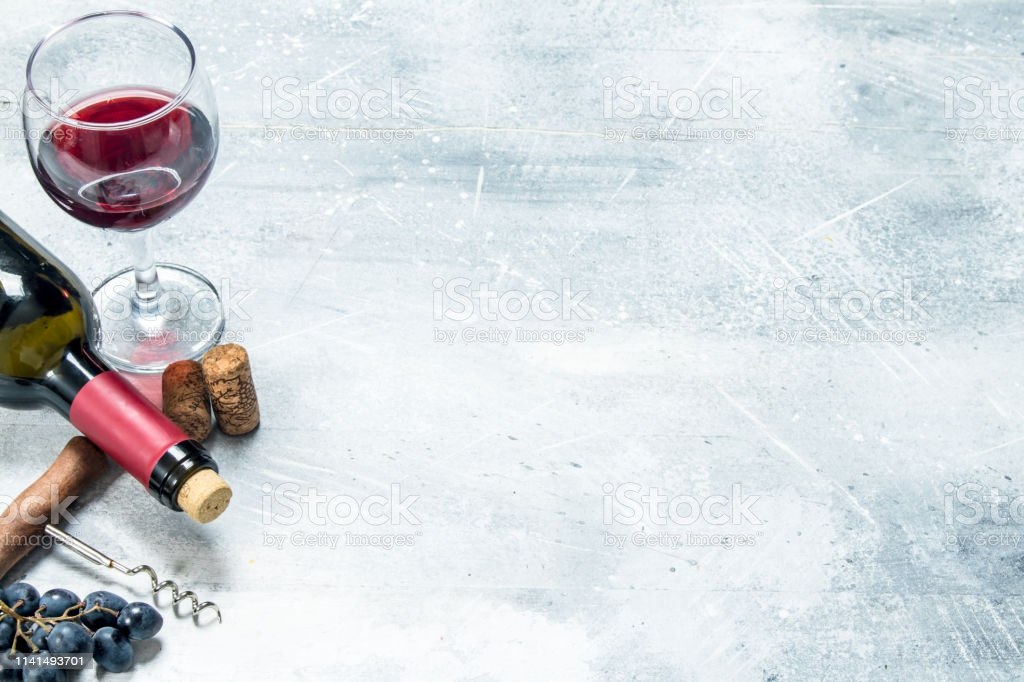 Wine Background Red Wine With A Grapes And A Corkscrew Stock Photo 1024x682