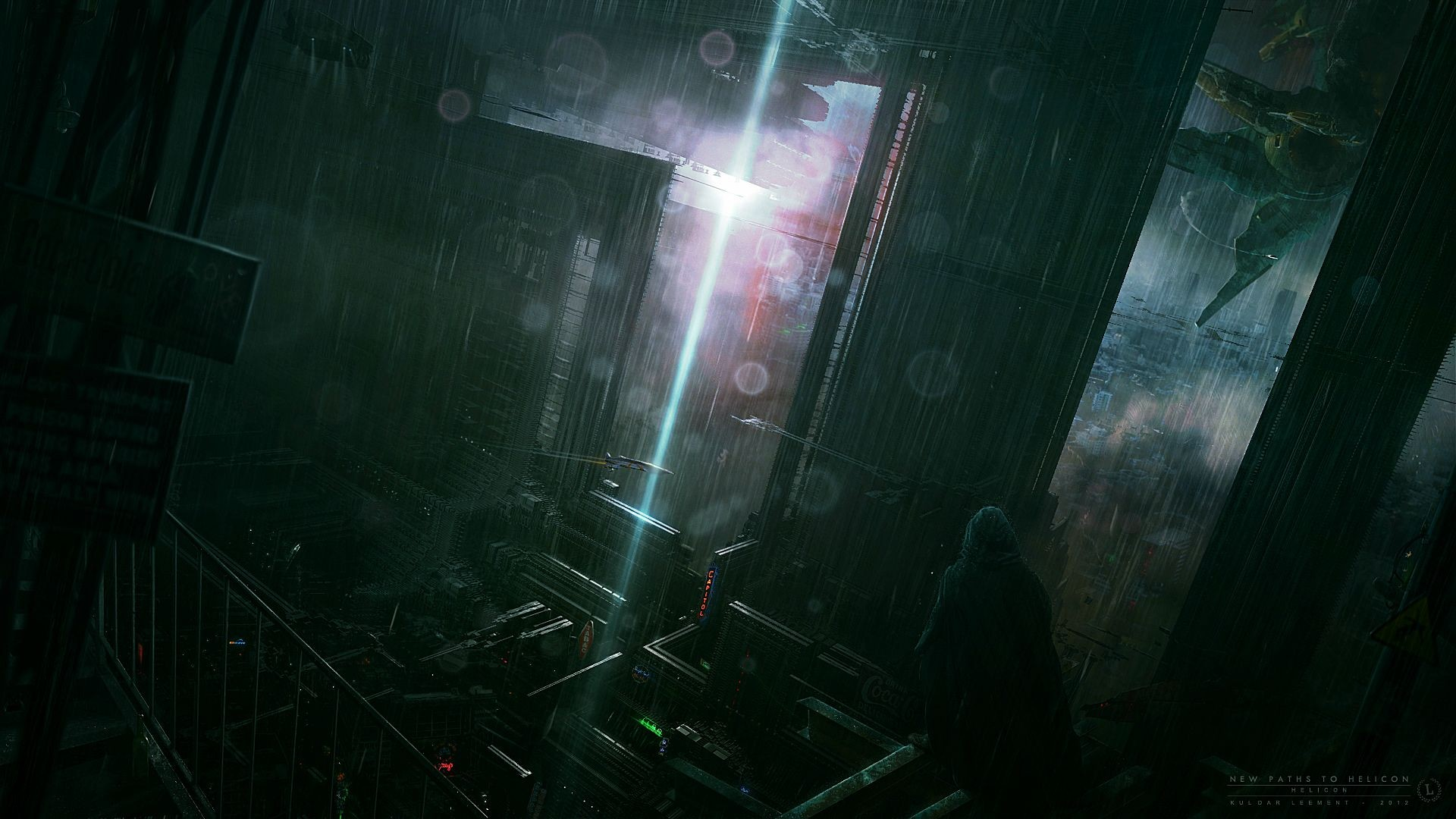 Futuristic Mech Cg Digital Dark Scifi Storm Cities ArtHD 1920x1080
