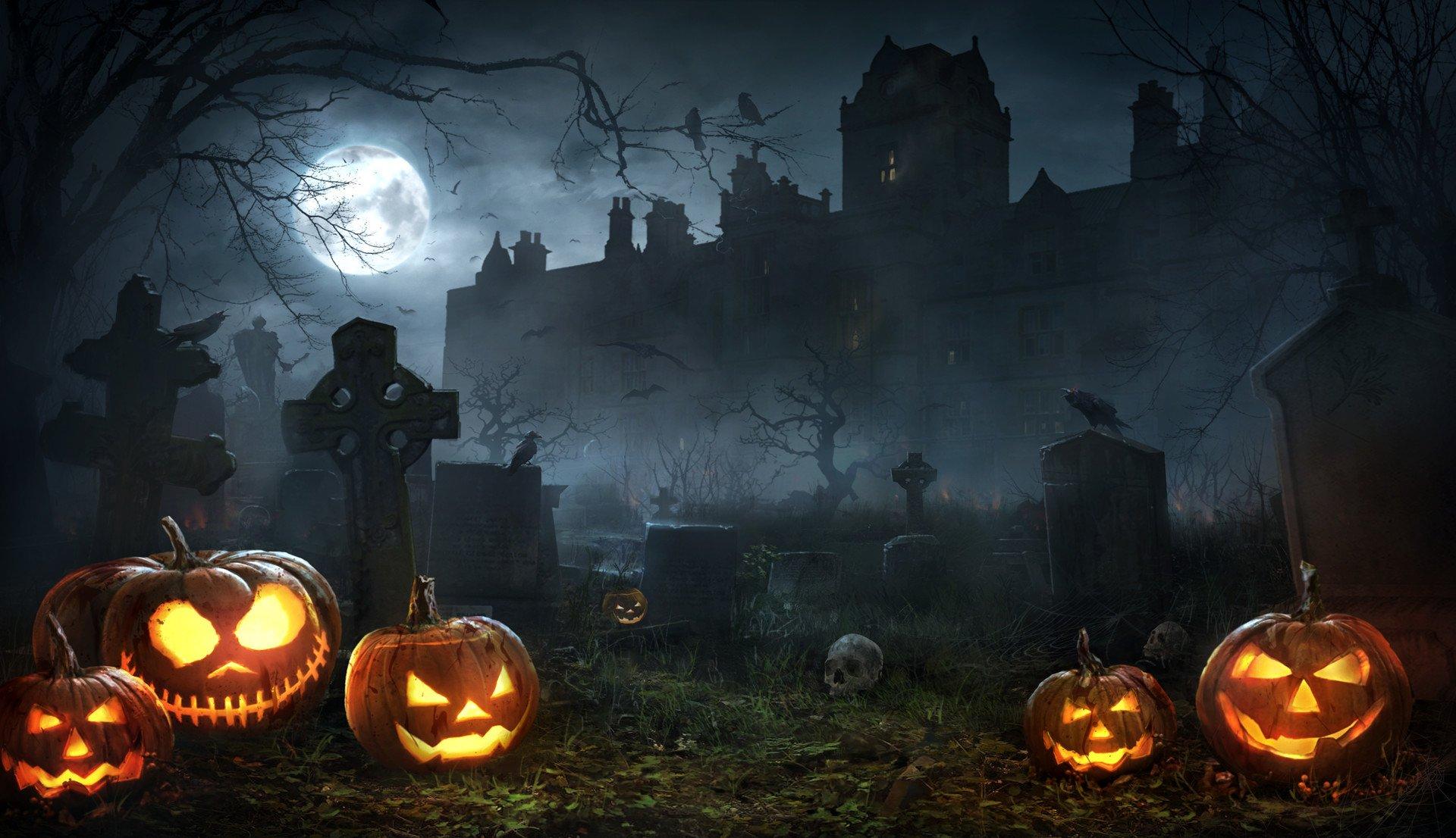 Halloween Night in Graveyard HD Wallpaper Background Image 1920x1106
