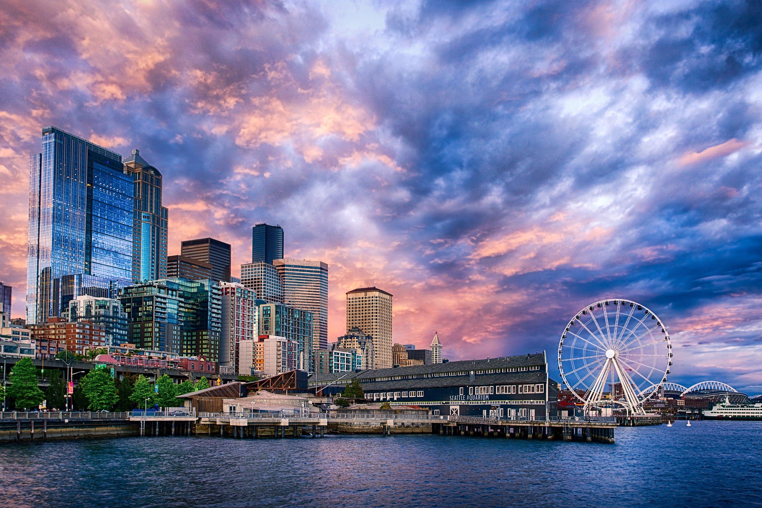 Seattle Ferris Wheel Sunset on wallpaper 2499x1666 291361 2499x1666