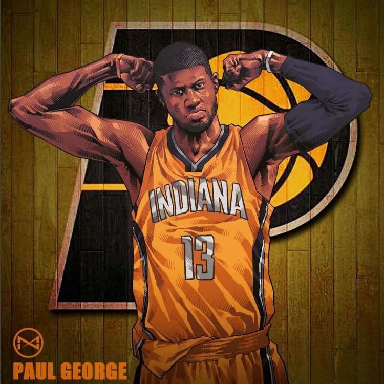 Paul George Flexin Illustration Hooped Up 750x750