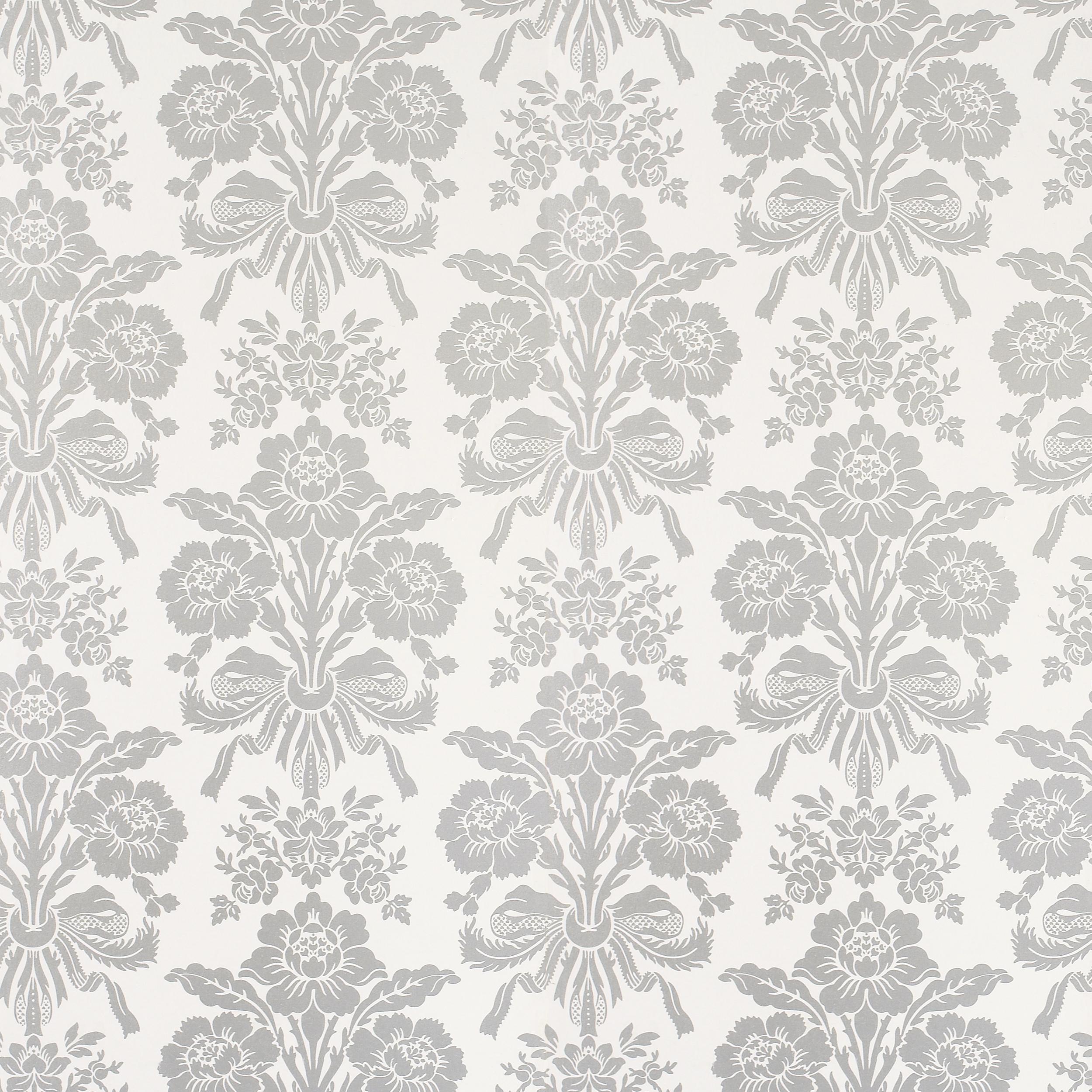 Home Decorating Wallpaper Tatton Silver Damask Wallpaper 2500x2500