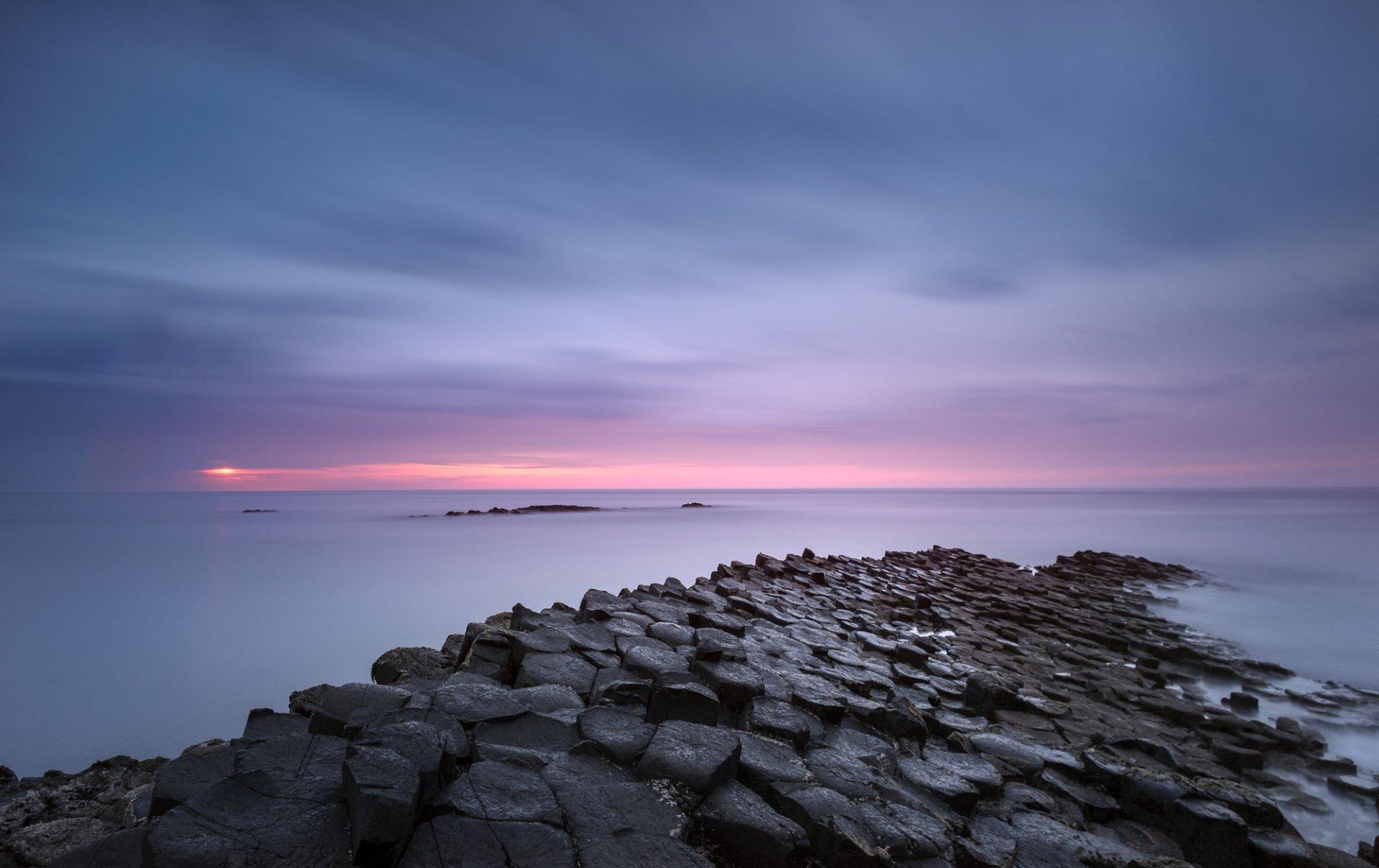 united kingdom northern ireland sea beach calm night pink 1920x1209