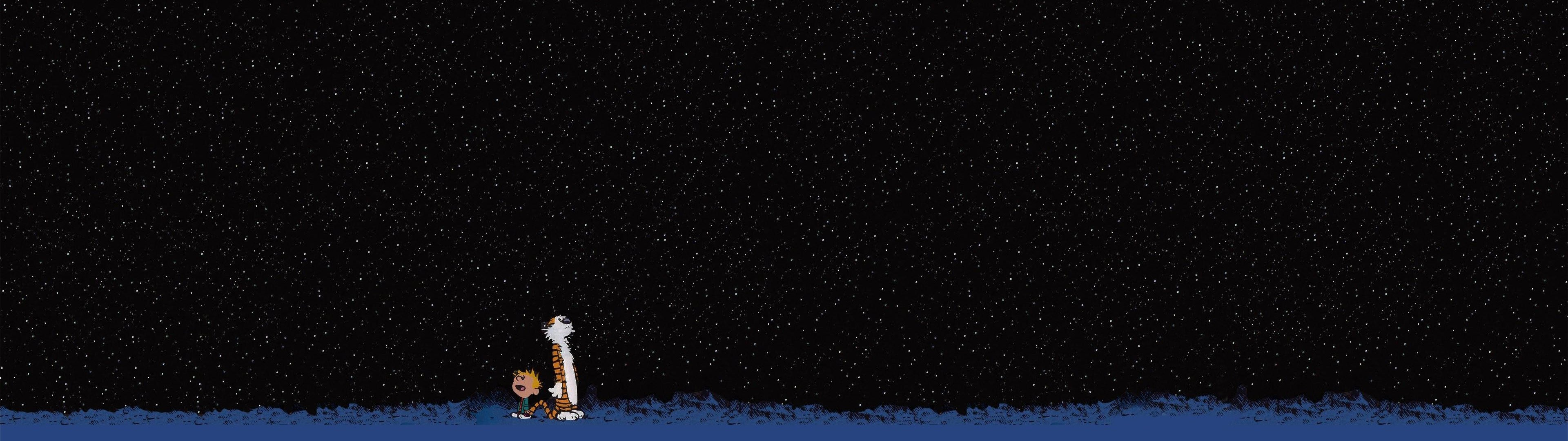 Free Download 3840x1080 Stars Calvin And Hobbes 3840x1080