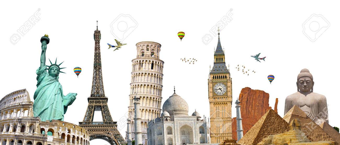 Famous Landmarks Of The World Grouped Together On White Background 1300x557