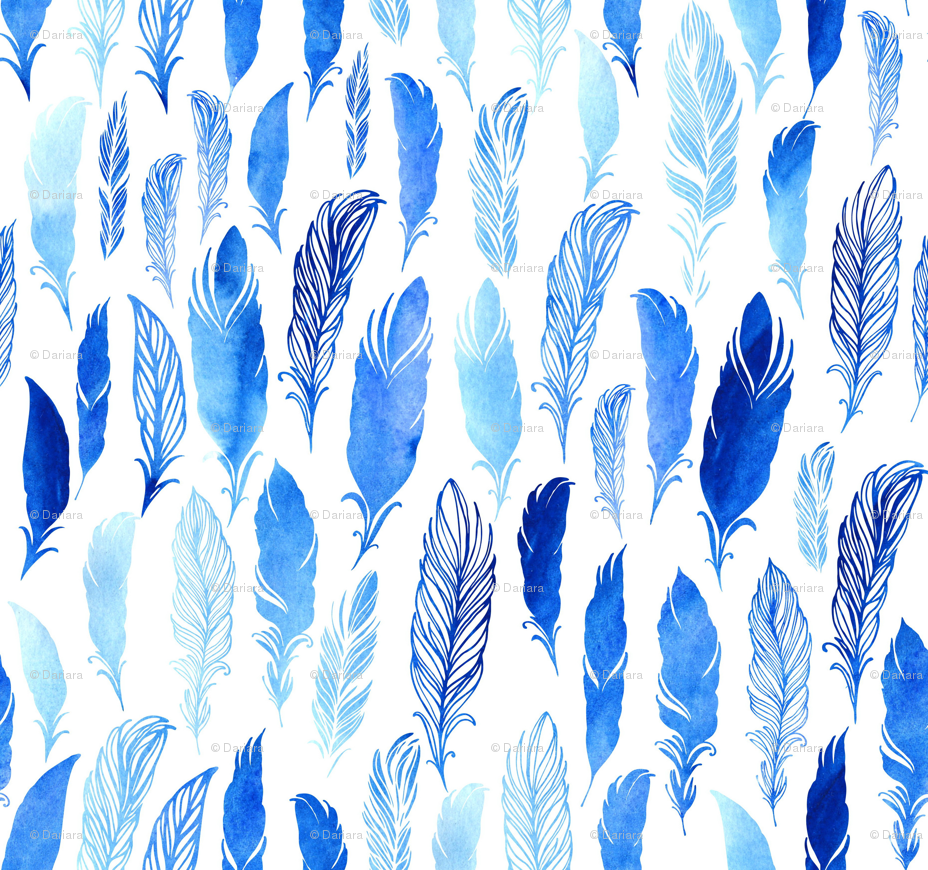 Blue watercolor feathers on white background wallpaper   dariara 928x870