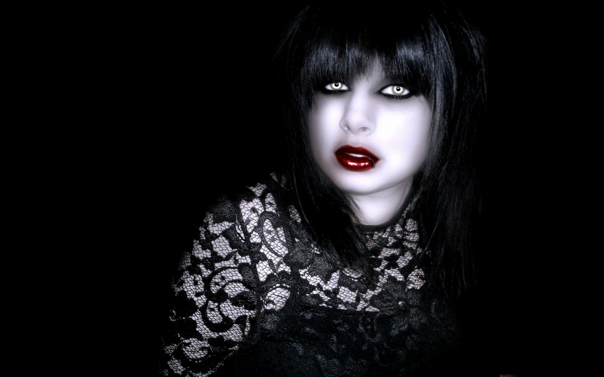 Dark horror gothic fantasy vampire cg digital manip women 1920x1200