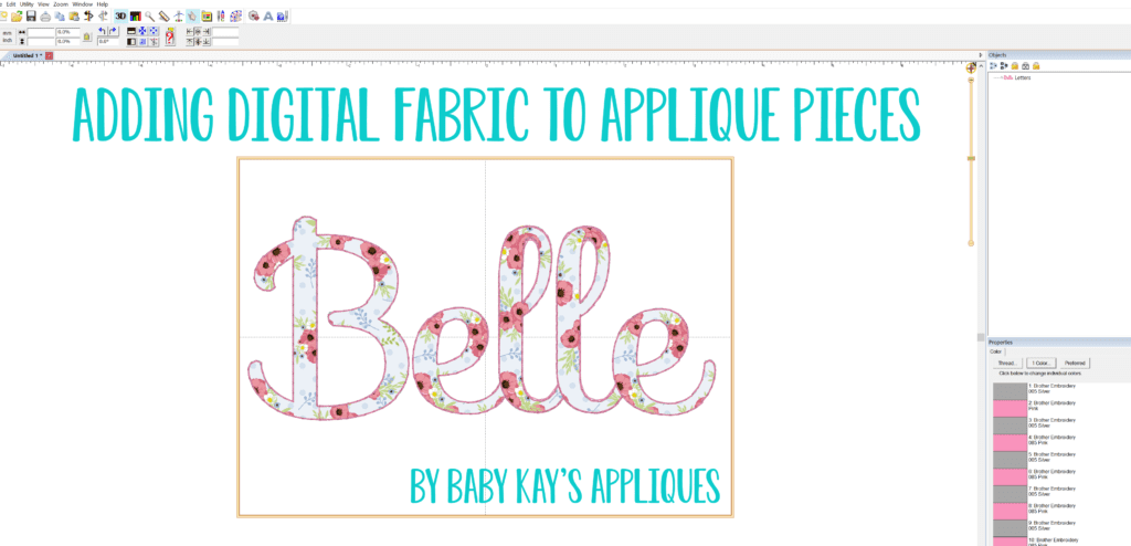 Adding Digital Fabric to Applique Pieces using Embrilliance   Baby 1024x494