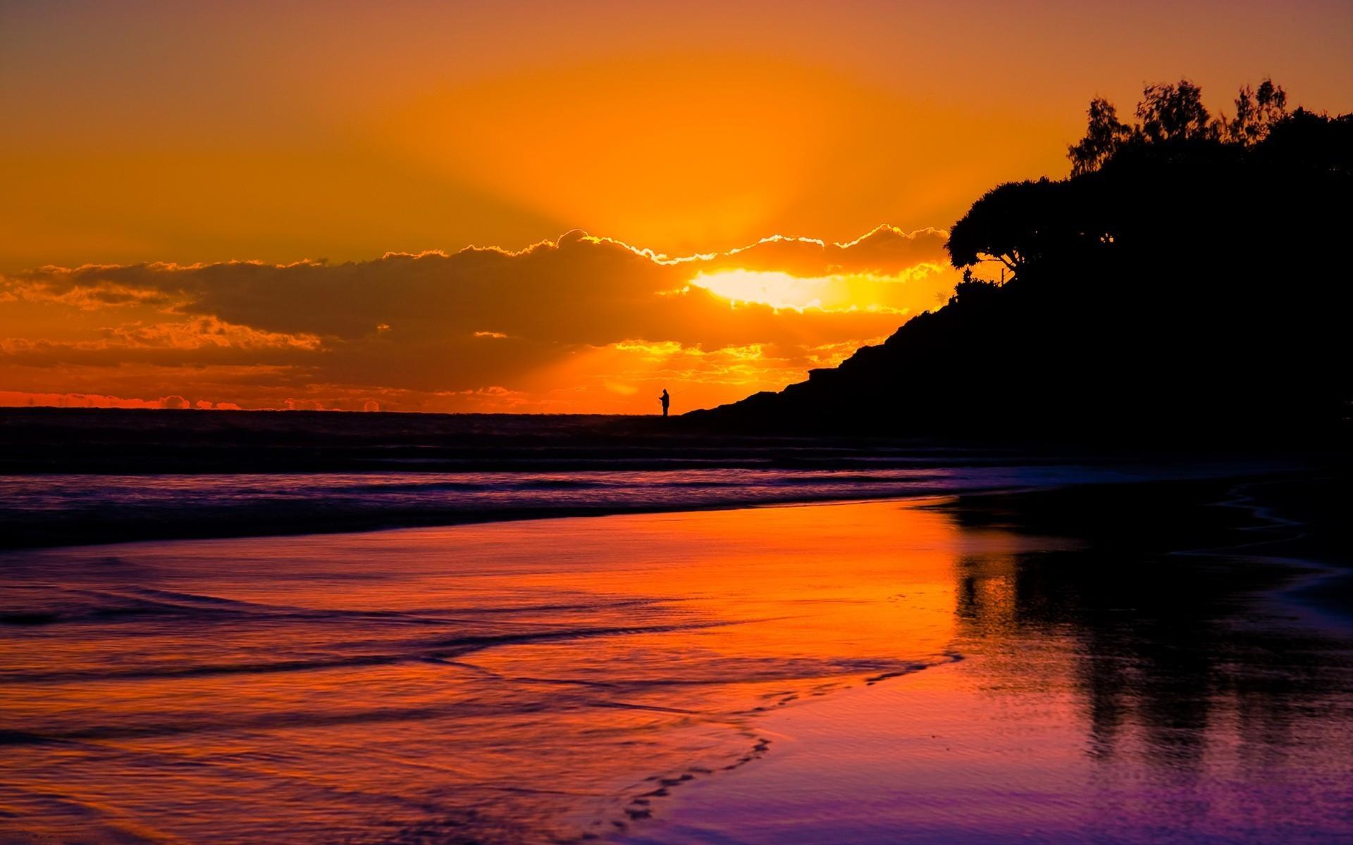 Sunset Beach Wallpaper 1920x1200 Sunset Beach Sea Silhouette 1920x1200