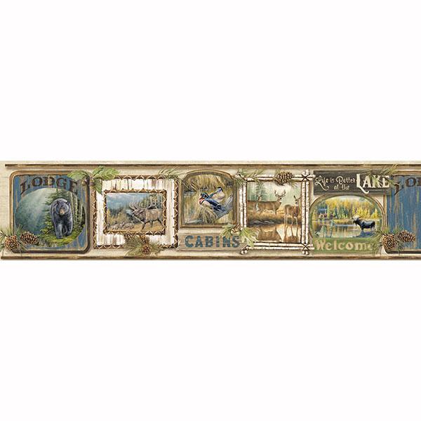 Cabin Fever Border   Poinsett   ECHO LAKE LODGE Wallpaper by 600x600
