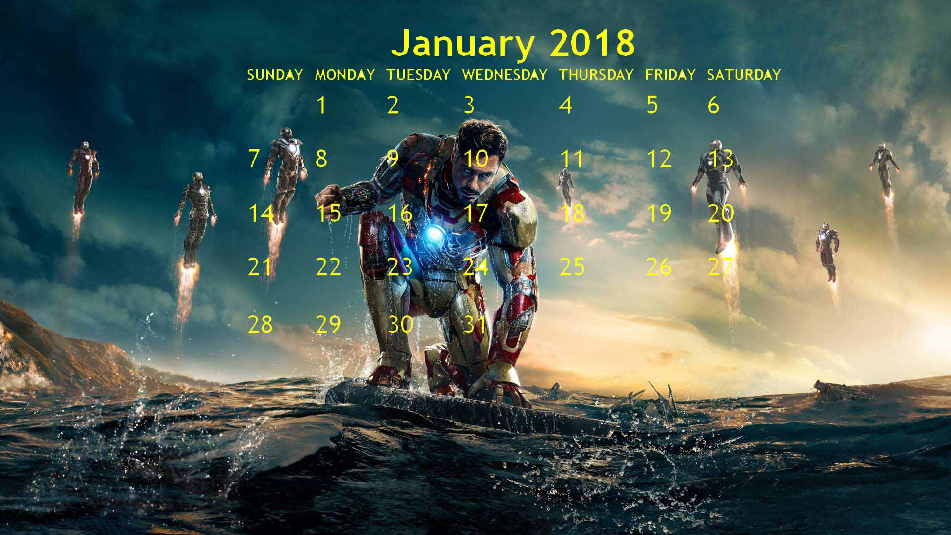 January 2018 Marvel Superheroes Printable Calendar 1920x1080