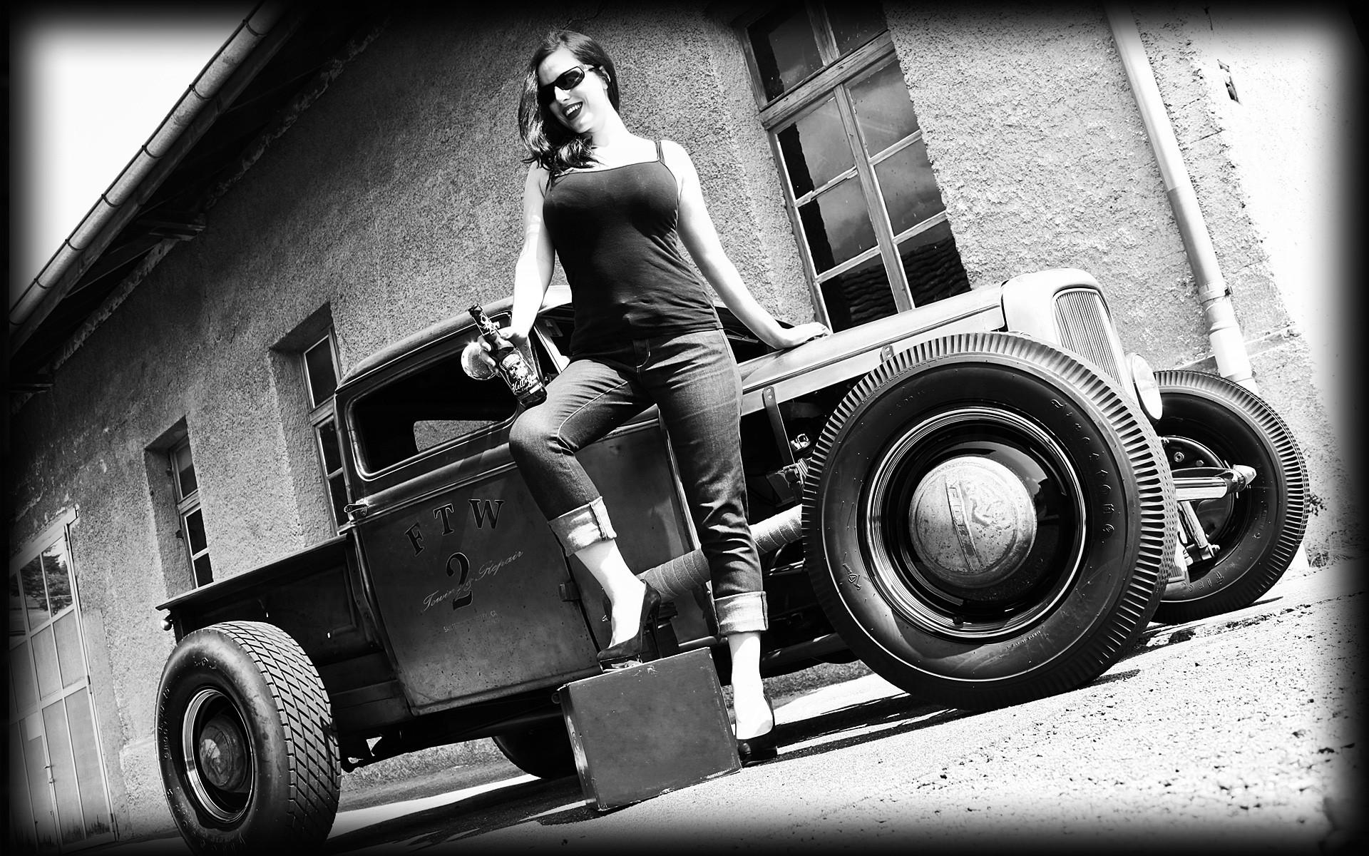 vehicles cars auto hot rod rat classic retro old wheels black white 1920x1200