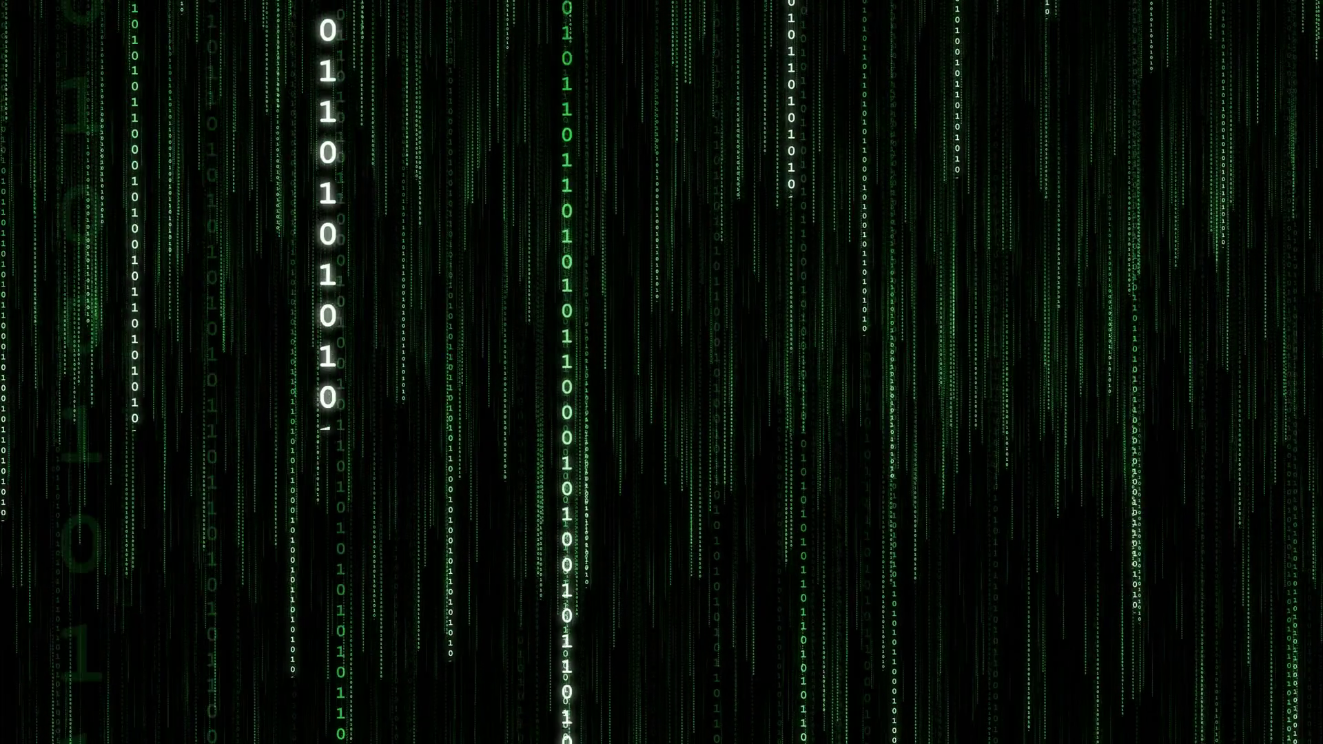Green Data Stream Vertical   4k Loop Motion Background 1920x1080