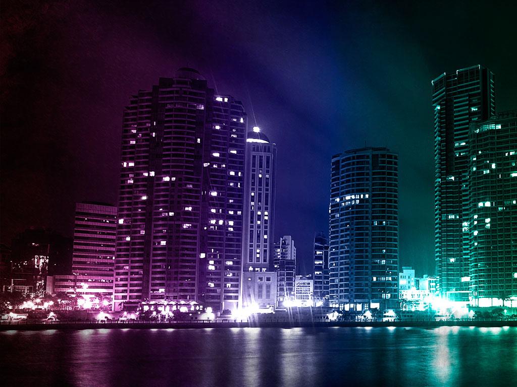 Colorful City wallpaper 1024x768
