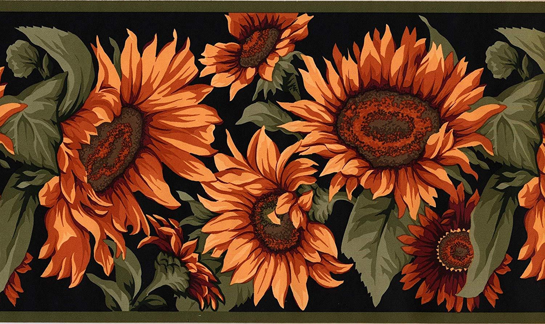 Sunflowers Wallpaper Border Green Red Black Classic MD102B York 1500x892