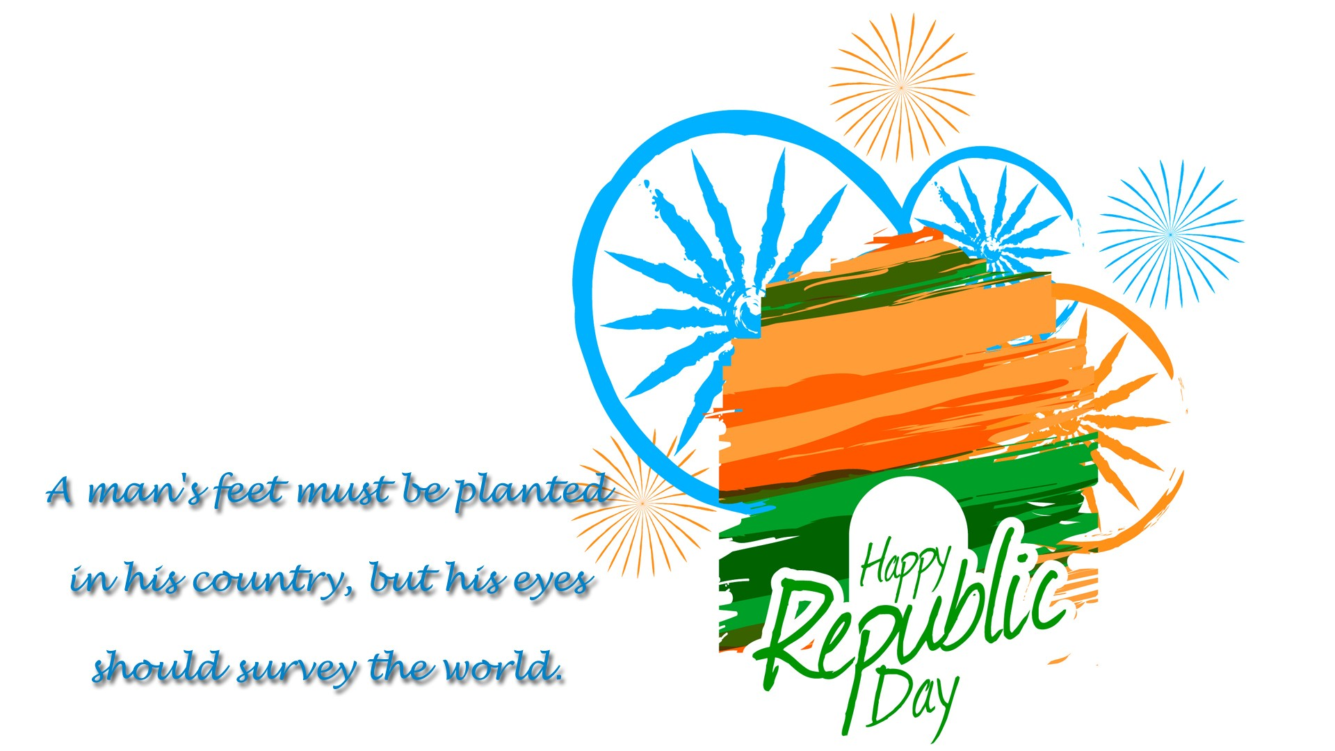 Happy Republic Day of India Greeting Message Wallpaper HD Wallpapers 1920x1080