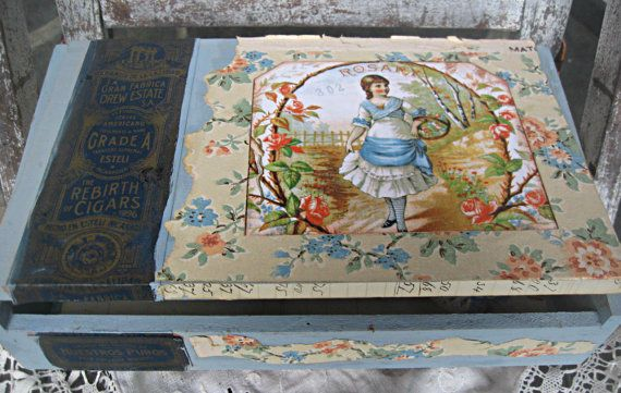 Altered vintage cigar box vintage wallpaper by LittleBeachDesigns 34 570x361