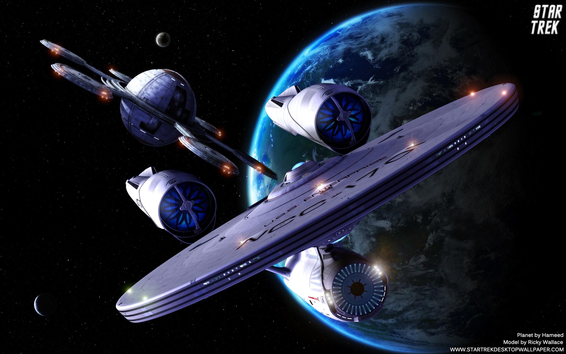 star starbase trek federation wallpaper screen saver planets 1920x1200