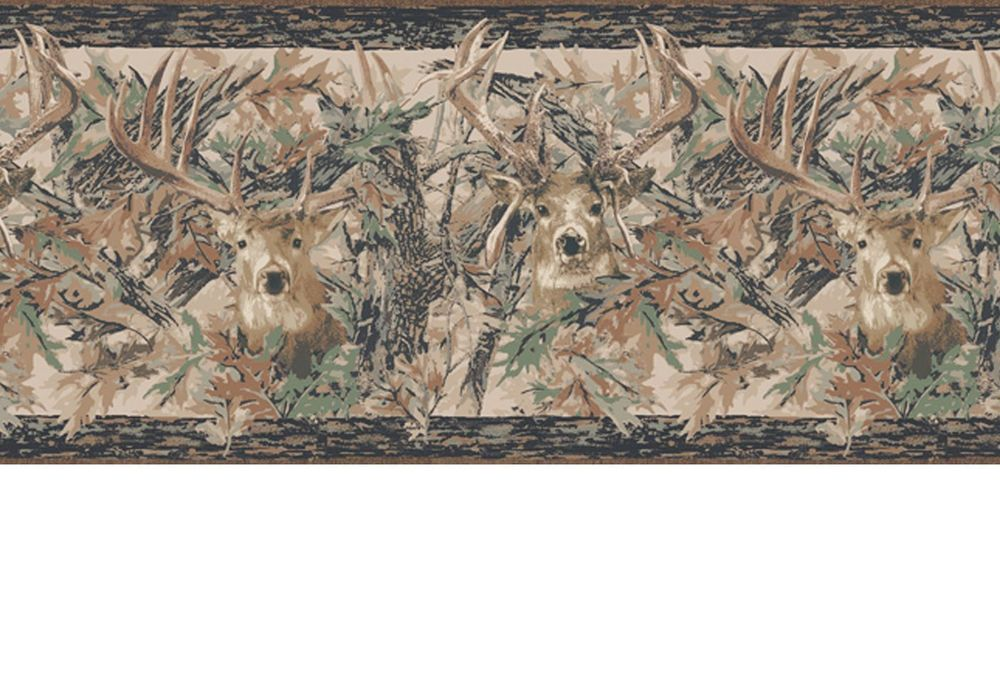 Camouflage Camo Leaves with Deer Head Lodge Wallpaper Border JL1062BD 1000x686