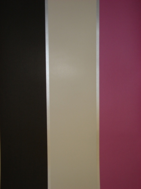 Details about Big Stripe Pink Cream Black Silver Striped Wallpaper 480x640