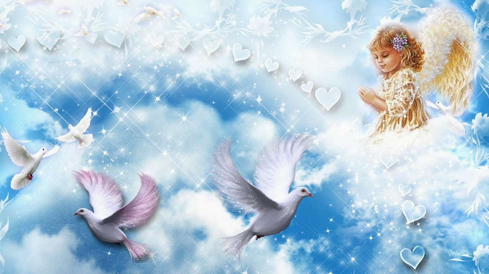 Angels and doves wallpaper   beautiful desktop wallpapers 2014 1600x896