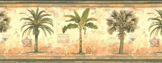 Banana Palm and Palmetto Tree Wallpaper Borde   Wallpaper Border 525x205