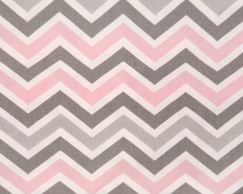 Pink Gray and White Chevron Crib Sheet by DesignsbyChristyS 500x400