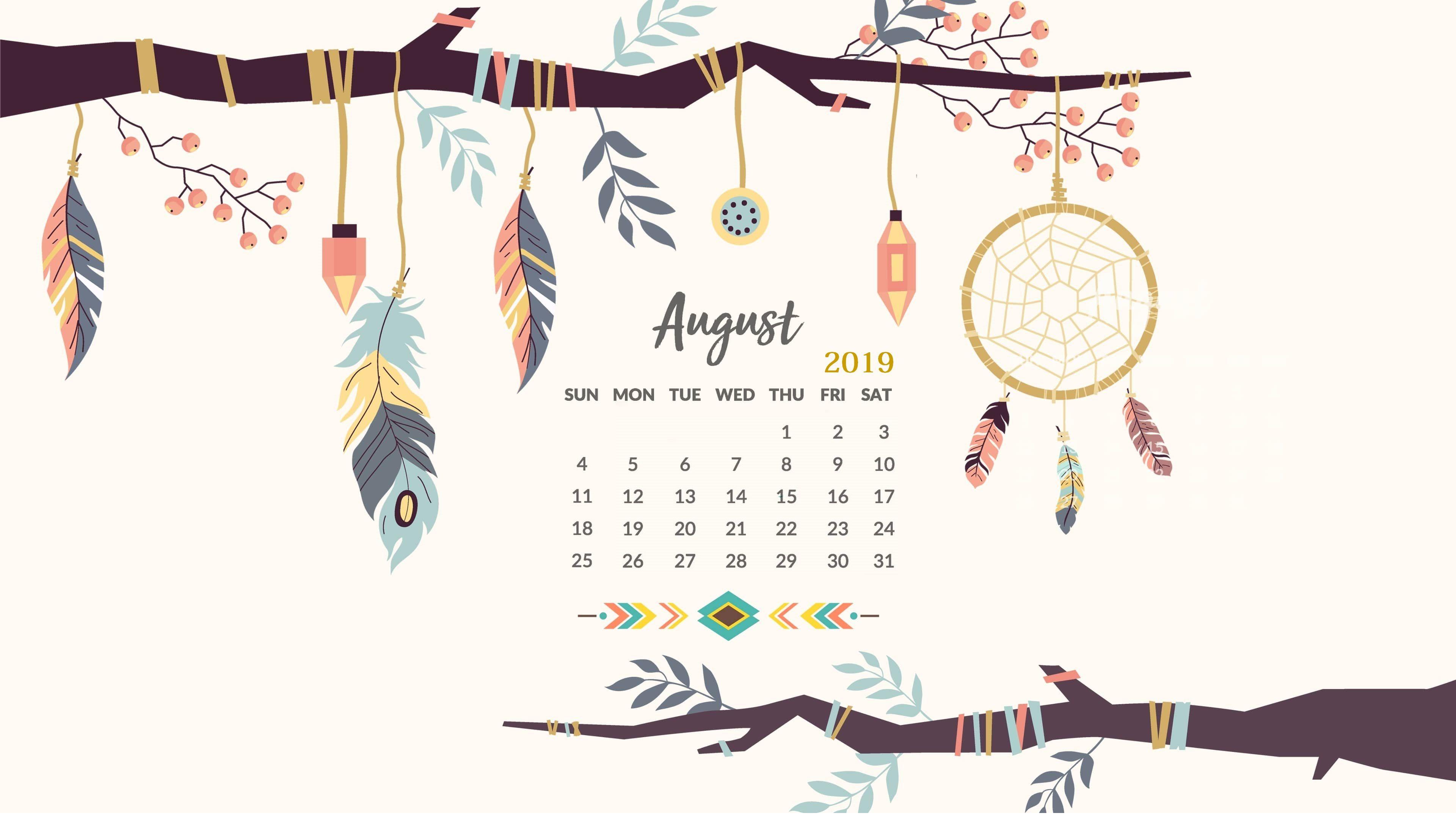 August 2019 HD Calendar Wallpaper little bit of everything in 3840x2173