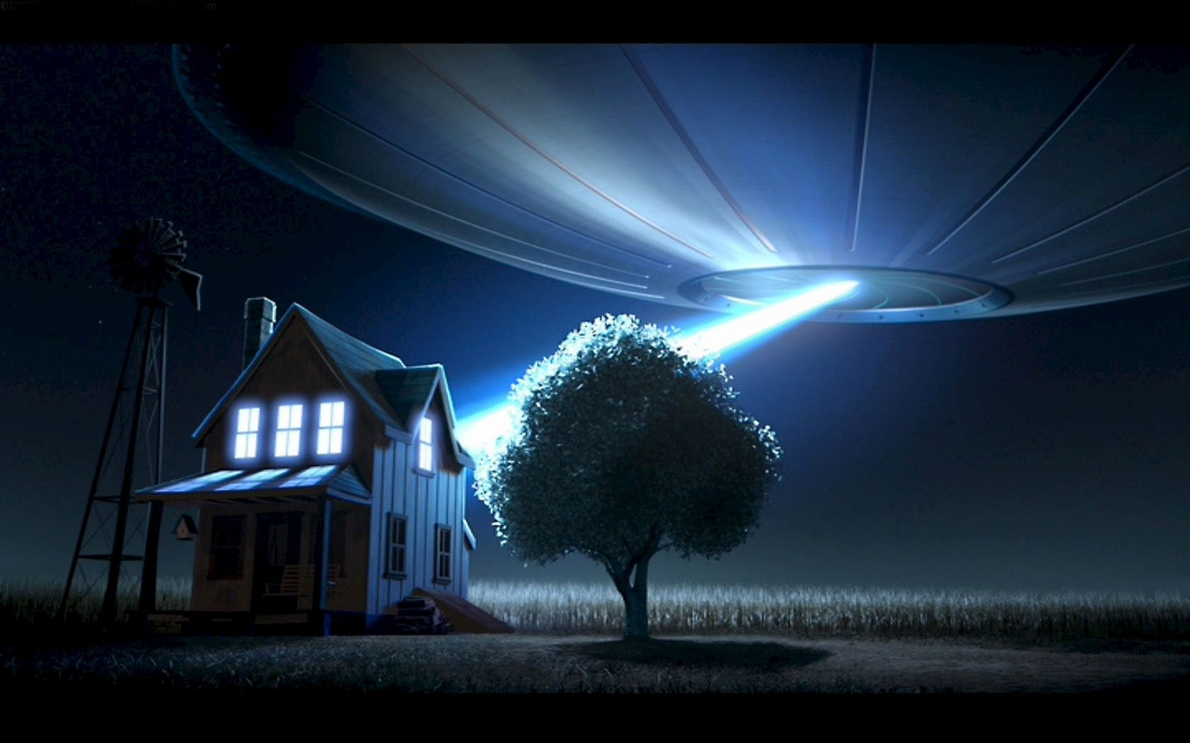 3D UFO Attacked The House Pictures Art Wallpaper HD Widescreen 1680x1050