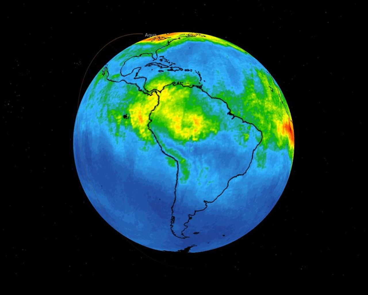 Space Images NASAs AIRS Maps Carbon Monoxide from Brazil Fires 1280x1024