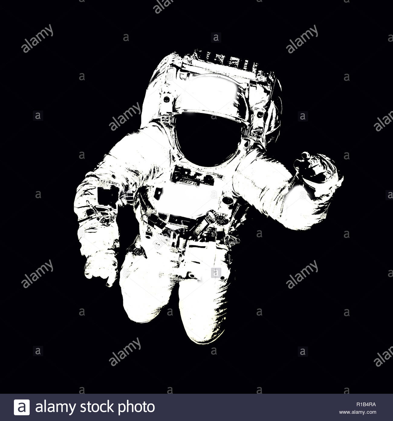 Astronaut in spacesuit close up isolated on black background 1300x1390