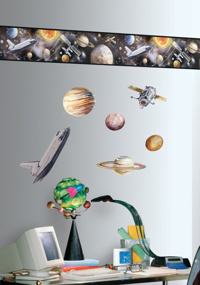Outer Space Room Border Wallpaper Stickers Wall Decor Stars Planets 703x1000