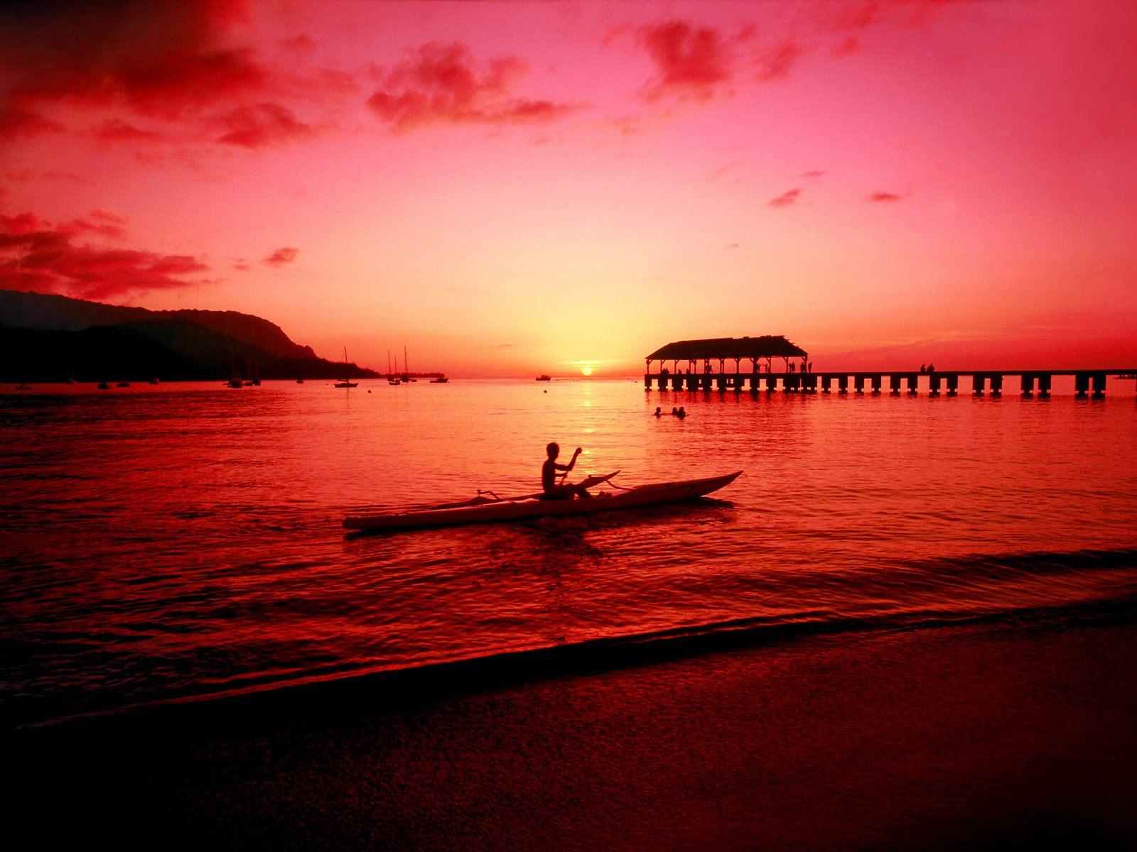 hawaii beach sunset stockphoto 1600x1200