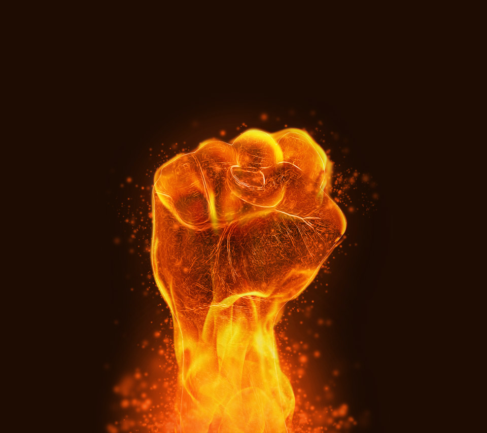 Download Fire Fist Power Tablet Phone Wallpaper Background
