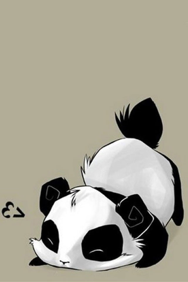 hd black and white panda iphone 4s wallpapers backgrounds 640x960