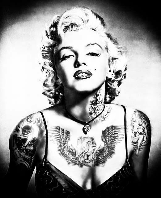 Tattooed marilyn monroe wallpaper wallpapersafari for Marilyn monroe with tattoos poster