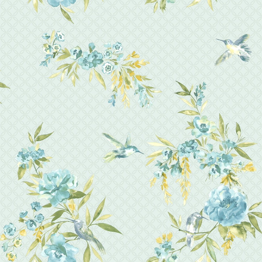 Holden Amaya Floral Pattern Flower Bird Motif Metallic Wallpaper 11483 1000x1000