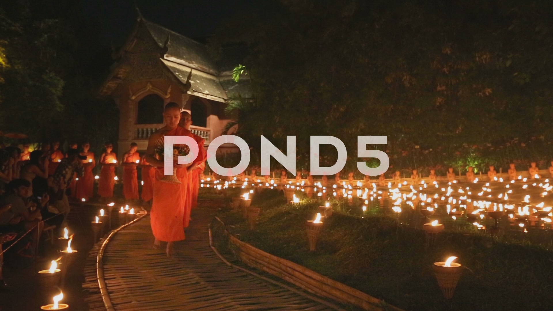 Magha puja day Monks light the candle for buddha Chiangmai 1920x1080
