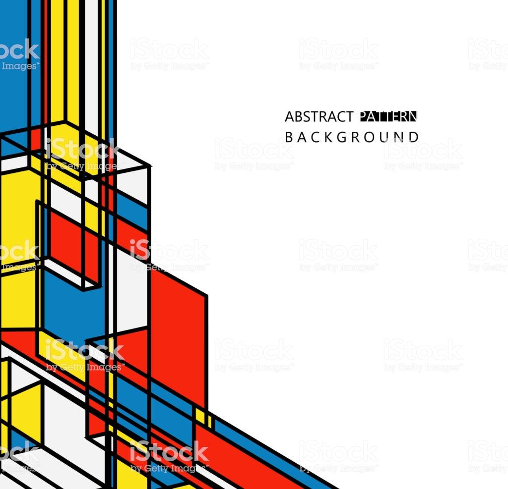 Mondrian Style Geometric Pattern Fashion Background Stock Vector 1024x987