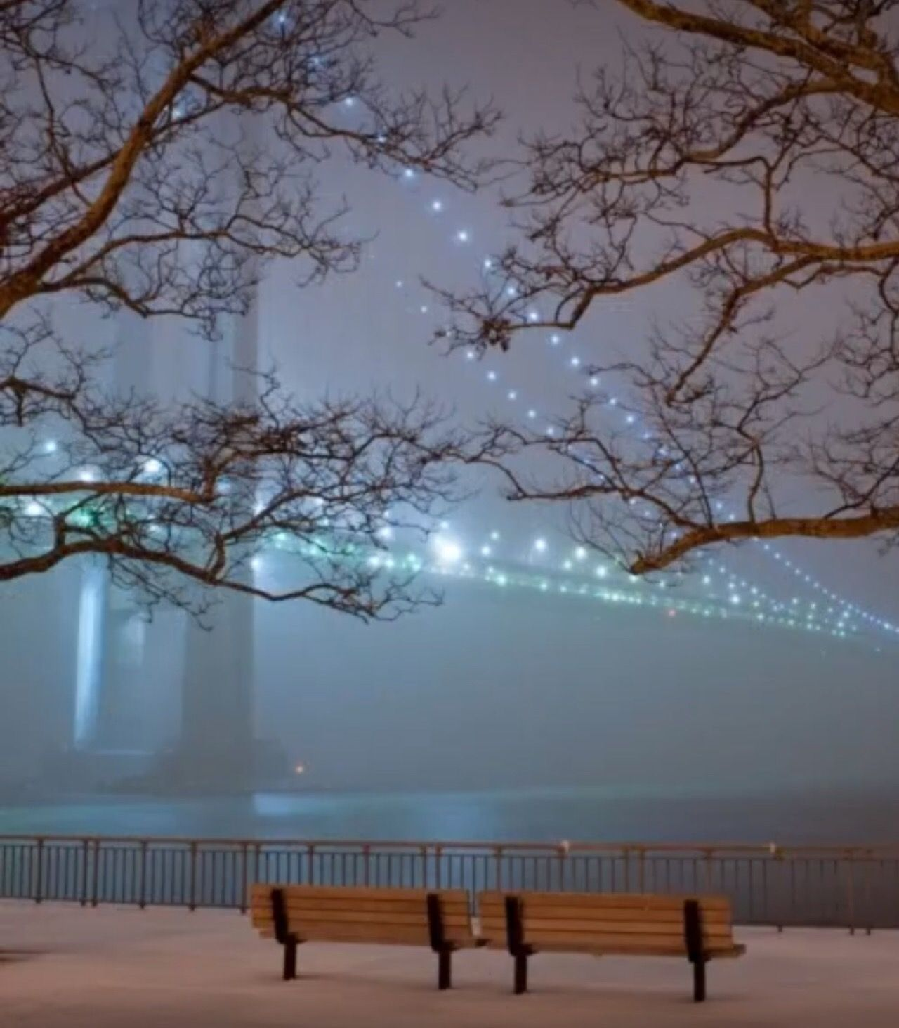 Verrazano Bridge view Bay Ridge Brooklyn Winter wallpaper 1280x1463