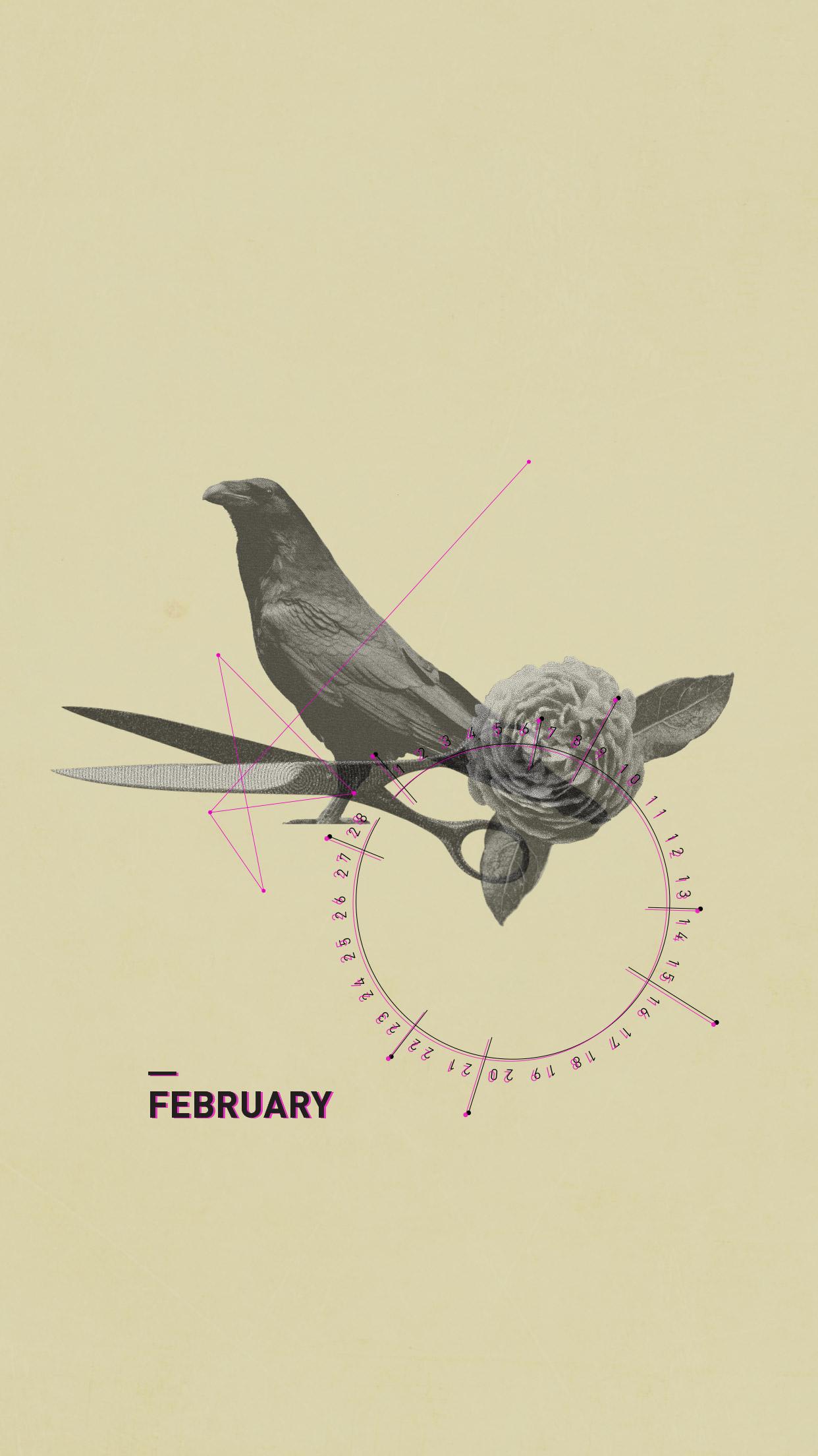 February 2015 Desktop Calendar Wallpaper Paper Leaf 1242x2208